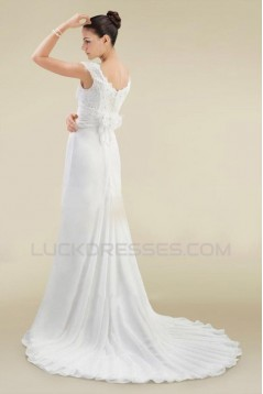 Sheath/Column Off the Shoulder Chiffon and Lace Bridal Wedding Dresses WD010364