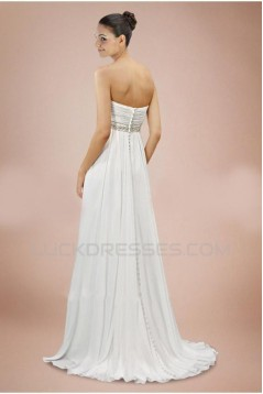 Empire Strapless Maternity Beaded Chiffon Bridal Wedding Dresses WD010365