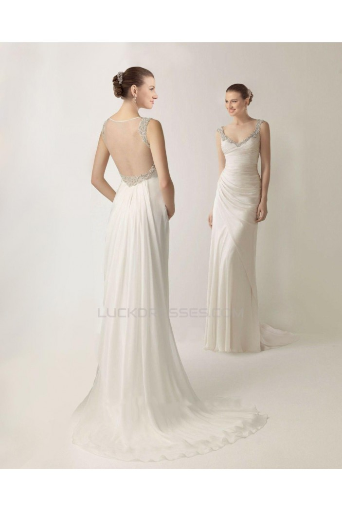 Sheath/Column Beaded Chiffon Bridal Wedding Dresses WD010366
