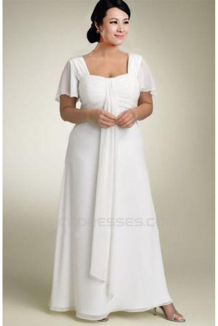 Sheath/Column Chiffon Plus Size Bridal Wedding Dresses WD010370