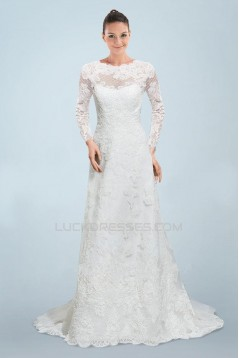 A-line Long Sleeves Lace Bridal Wedding Dresses WD010378