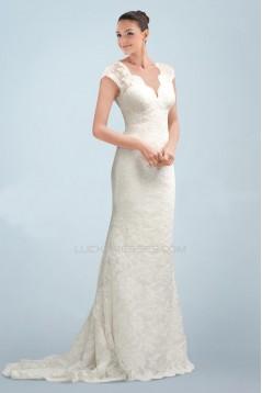 Elegant V-neck Short Sleeves Lace Bridal Wedding Dresses WD010380