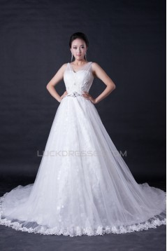 A-line Straps Beaded Lace Bridal Wedding Dresses WD010384