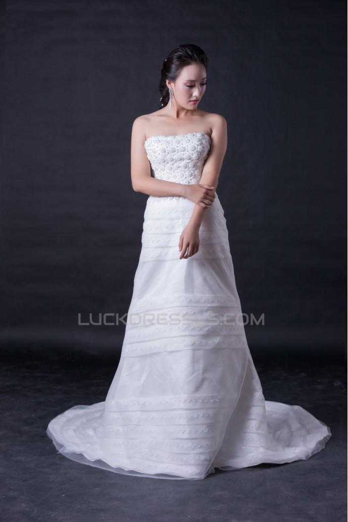 A-line Strapless Bridal Wedding Dresses WD010386