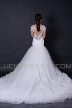Trumpet/Mermaid Beaded Lace Bridal Wedding Dresses with one and a half meters Train WD010388