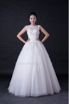 Ball Gown Beaded Appliques Floor Length Bridal Wedding Dresses WD010390