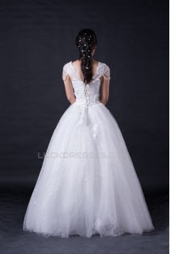 Ball Gown V-neck Beaded Bridal Wedding Dresses WD010393