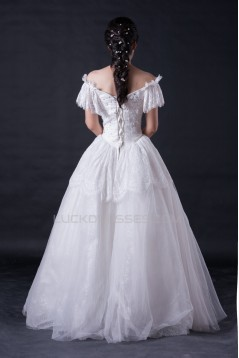 Ball Gown Off the Shoulder Beaded Lace Bridal Wedding Dresses WD010394