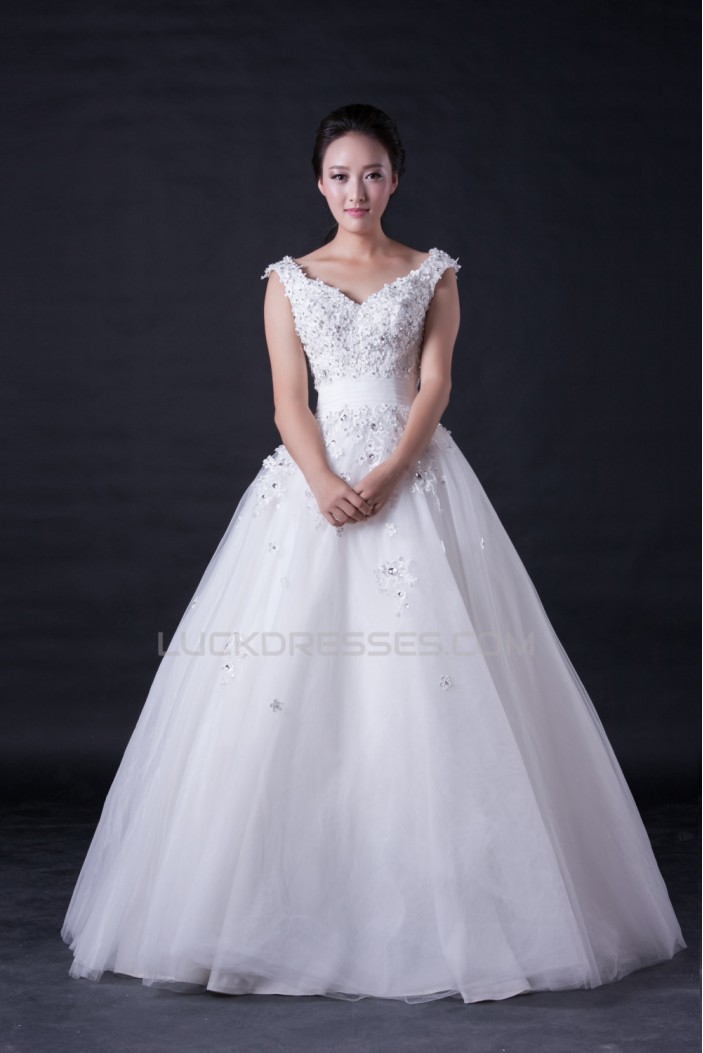 Ball Gown Off the Shoulder Beaded Bridal Wedding Dresses WD010395