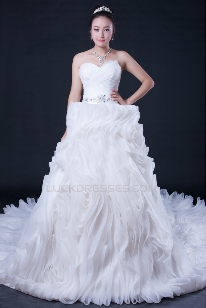 Ball Gown Sweetheart Beaded Cathedral Train Bridal Wedding Dresses WD010398