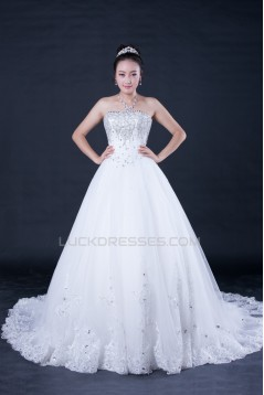 A-line Strapless Beaded Bridal Wedding Dresses WD010401