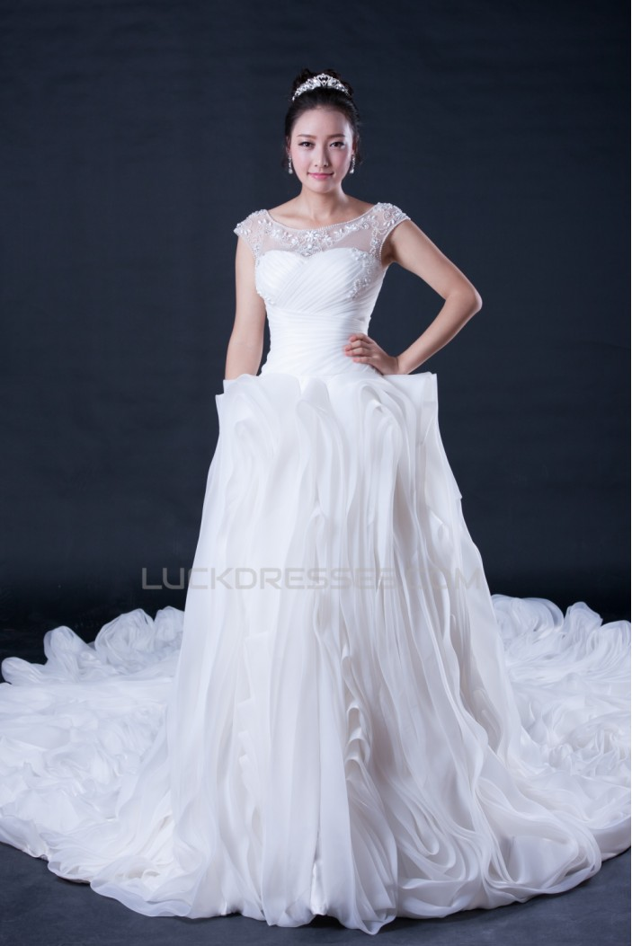 Ball Gown Off the Shoulder Beaded Cathedral Train Bridal Wedding Dresses WD010402