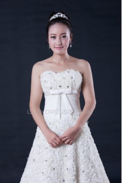 A-line Strapless Beaded Flowers Bridal Wedding Dresses WD010404