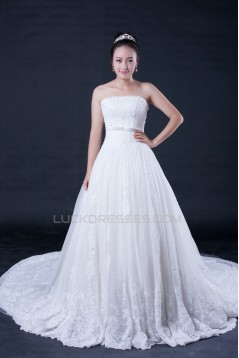 A-line Strapless Beaded Bridal Wedding Dresses WD010405