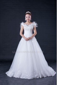 Ball Gown Off the Shoulder Beaded Lace Bridal Wedding Dresses WD010407
