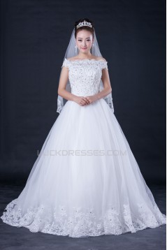 Ball Gown Off the Shoulder Beaded Lace Bridal Wedding Dresses WD010410