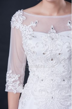 A-line Half Sleeves Beaded Lace Bridal Wedding Dresses WD010413