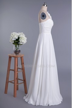 Elegant One Shoulder Floor Length Chiffon Bridal Wedding Dresses WD010419