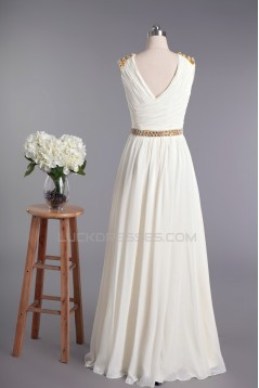 Sheath/Column V-neck Beaded Chiffon Bridal Wedding Dresses WD010420
