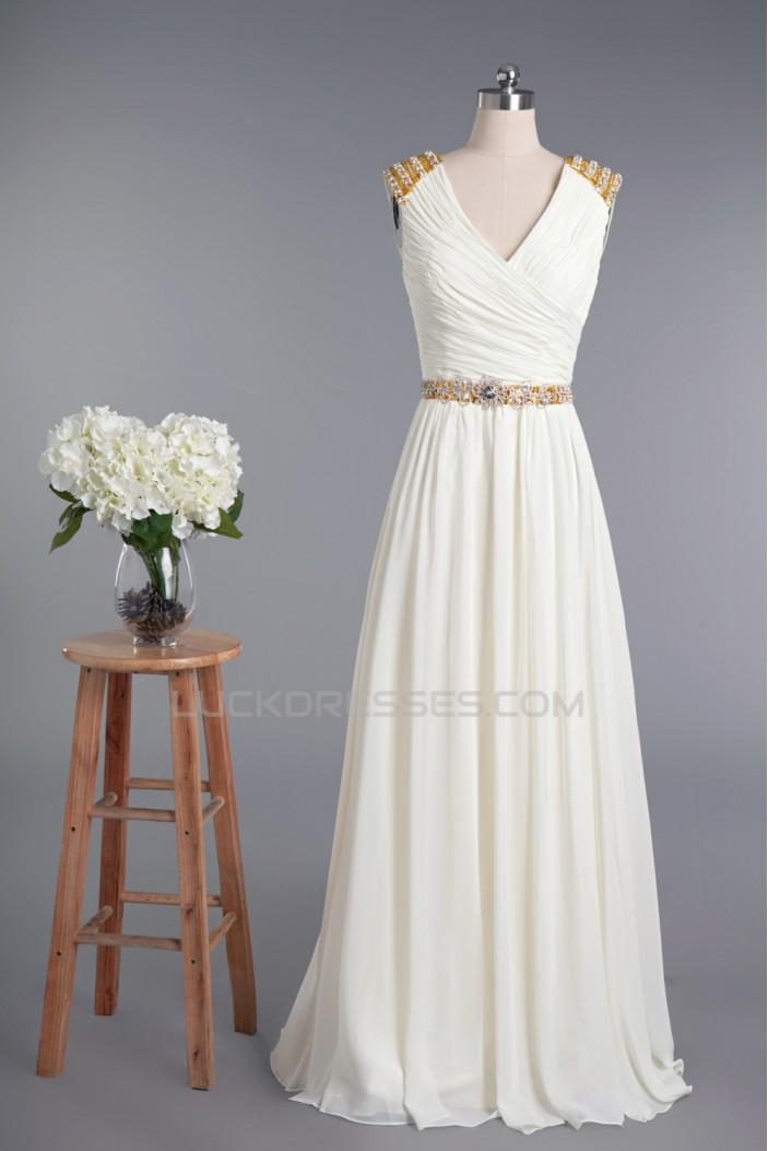 Sheath/Column V-neck Beaded Chiffon Bridal Wedding Dresses WD010420