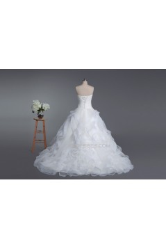 Ball Gown Strapless Chapel Train Bridal Wedding Dresses WD010423