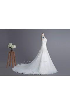 A-line Sweetheart Chapel Train Lace Bridal Wedding Dresses WD010424