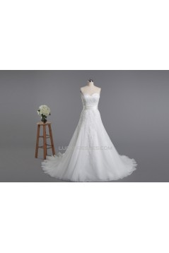 A-line Sweetheart Beaded Lace Bridal Wedding Dresses WD010427
