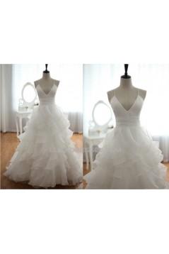 Ball Gown V-neck Spaghetti Strap Bridal Gown Wedding Dress WD010434