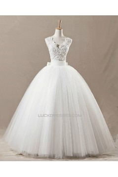 Ball Gown V-neck Beaded Bridal Gown Wedding Dress WD010435