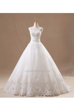 Ball Gown Beaded Straps Lace Bridal Gown Wedding Dress WD010436
