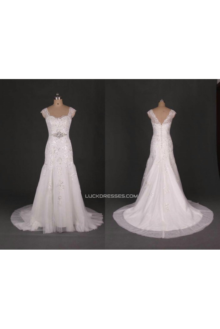 Trumpet/Mermaid Beaded Lace Bridal Gown Wedding Dress WD010440