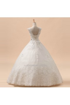 Ball Gown Straps Beaded Lace Bridal Gown Wedding Dress WD010441