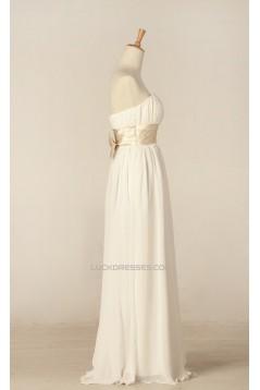 Sheath/Column Strapless Bowknot Chiffon Bridal Gown Wedding Dress WD010445