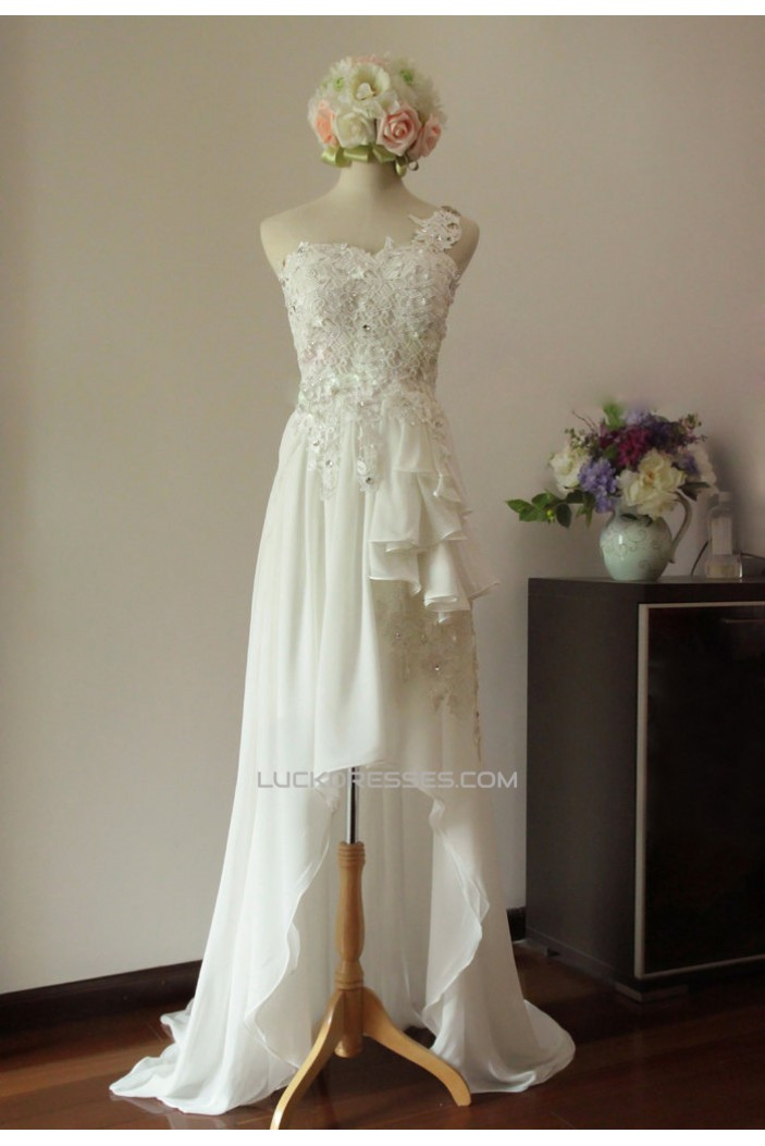 High Low One Shoulder Beaded Lace Chiffon Bridal Gown Wedding Dress WD010451