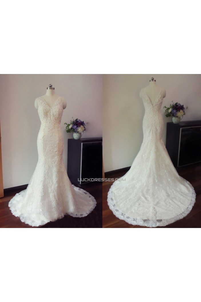 Trumpet/Mermaid V-neck Beaded Lace Bridal Gown Wedding Dress WD010453