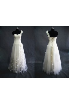 A-line One Shoulder Tulle Bridal Gown Wedding Dress WD010457