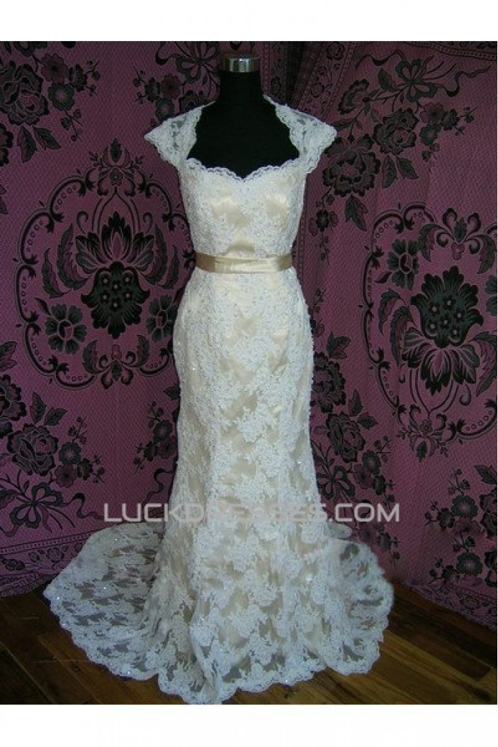 Trumpet/Mermaid Chapel Train Lace Bridal Gown Wedding Dress WD010459