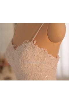 Trumpet/Mermaid Spaghetti Strap Beaded Lace Bridal Gown Wedding Dress WD010465