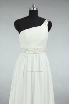 Sheath/Column One Shoulder Beaded Chiffon Bridal Gown Wedding Dress WD010466
