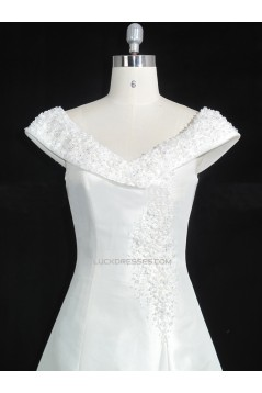 A-line Off the Shoulder Lace Bridal Gown Wedding Dress WD010476