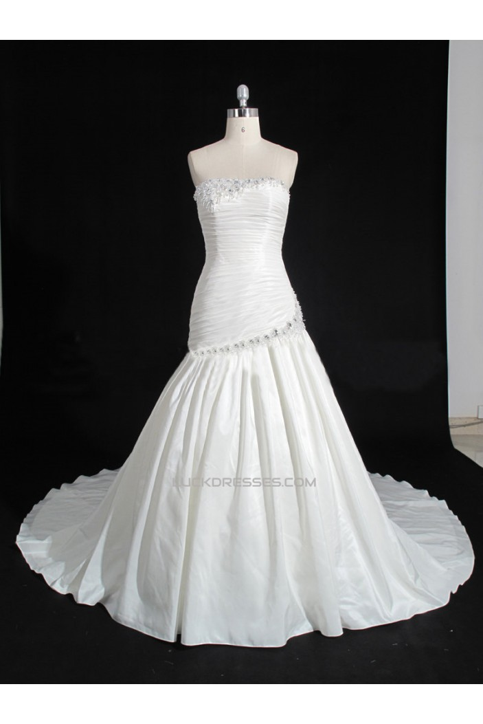 A-line Strapless Beaded Bridal Gown Wedding Dress WD010477