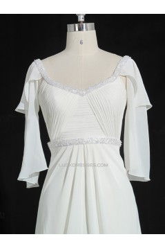 A-line Beaded Chiffon Bridal Gown Wedding Dress WD010479