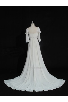 A-line Beaded Chiffon Bridal Gown Wedding Dress WD010479
