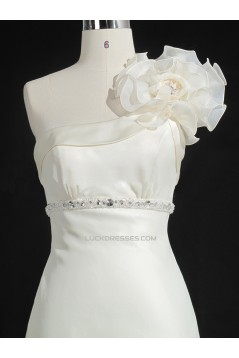 A-line Beaded One Shoulder Bridal Gown Wedding Dress WD010483