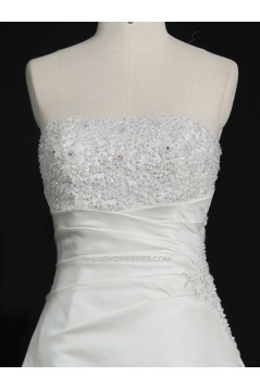 A-line Strapless Beaded Bridal Gown Wedding Dress WD010484