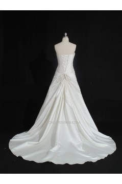 A-line Strapless Beaded Bridal Gown Wedding Dress WD010485