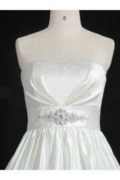 High Low Strapless Beaded Bridal Gown Wedding Dress WD010486