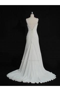 Sheath/Column Beaded Chiffon Bridal Gown Wedding Dress WD010490