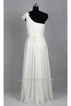 Sheath/Column Beaded One Shoulder Chiffon Bridal Gown Wedding Dress WD010493