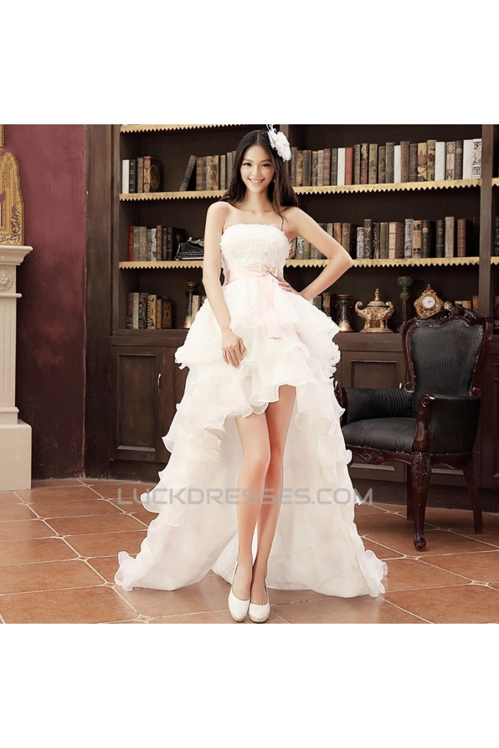 High Low Strapless Bridal Wedding Dresses WD010508
